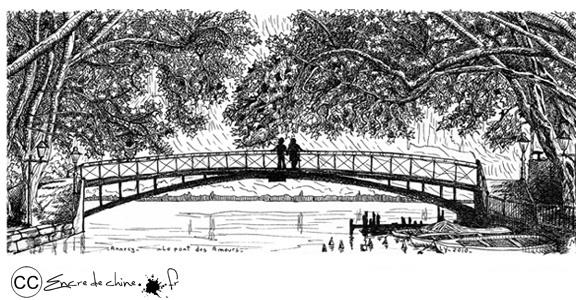 Annecy,le pont des Amours,port,pont,bateau,dessin,peinture,encre de chine