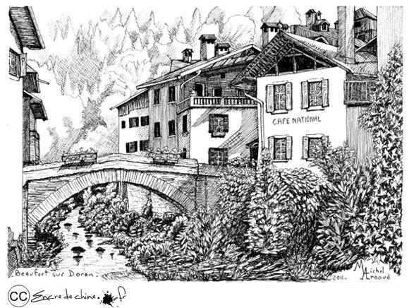 Beaufort sur Doron,dessin,peinture,encre de chine,pont,doron,rivière,montagne