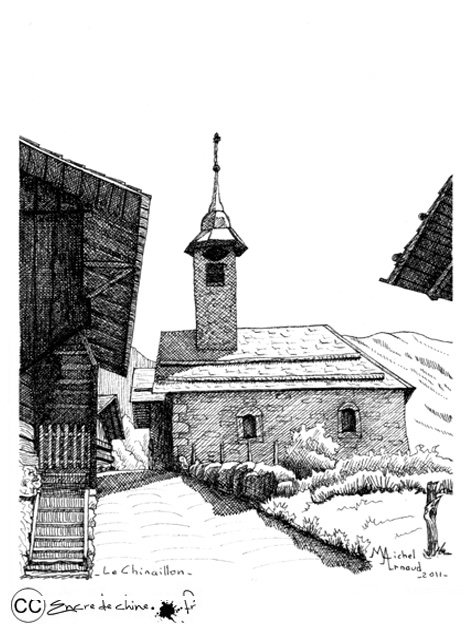grand bornand,Chapelle Chinaillon,encre de chine, photo,dessin