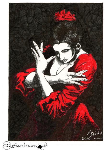 dessin,encre de chine,flamenco
