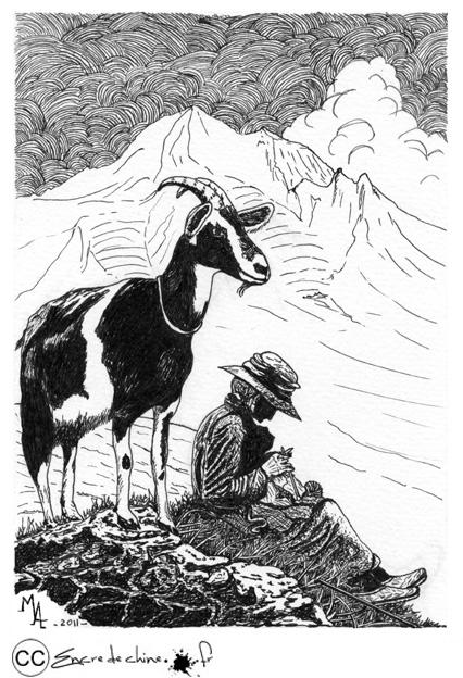 tricoteuse,dessin,peinture,encre de chine,chèvre,alpage,montagne,estive