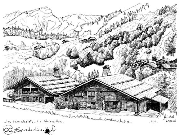 Le Grand Bornand,Le Chinaillon,Les deux chalets,Photo,dessin,encre de chine