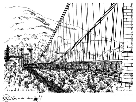 Pont de la Caille,Cruseilles,Allonzier la Caille,dessin,encre de chine,peinture,pont suspendu,