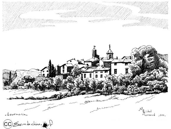 Lourmarin,Luberon,dessin,peinture,encre de chine,chateau,Albert Camus