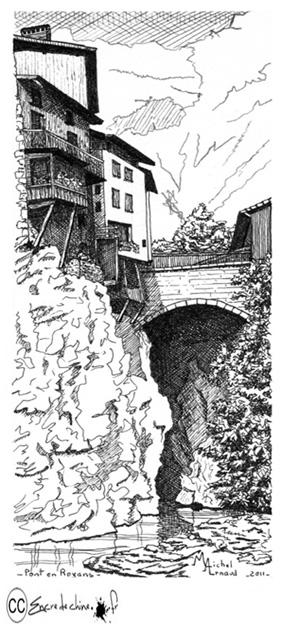 Pont en Royans,dessin,encre de chine,peinture,la place du village,bourne