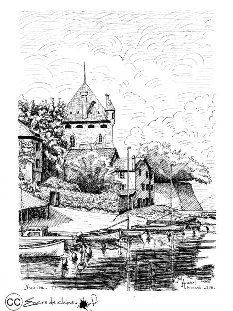 Yvoire,château,port,dessin,peinture,encre de chine,bateau,lac léman